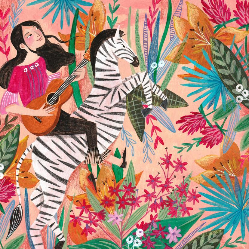 Zomaar kaarten - Zomaar een zebra met bloemen