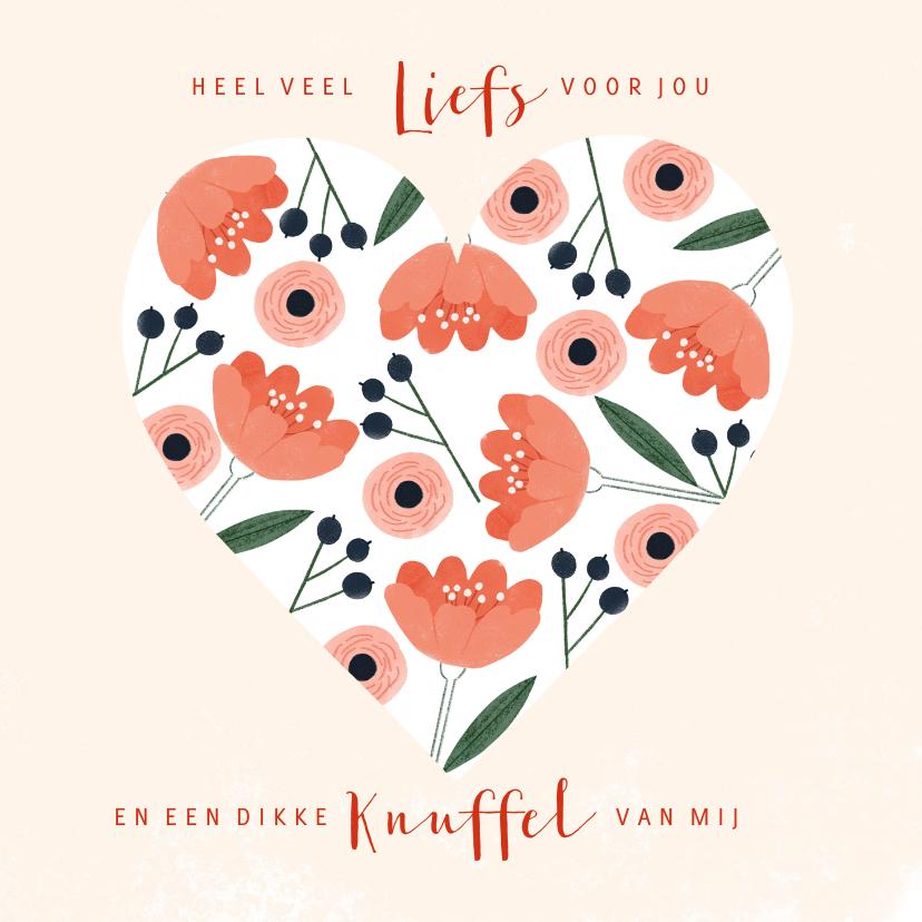 Zomaar kaarten - Zomaar kaart liefs en een knuffel bloemen in een hart