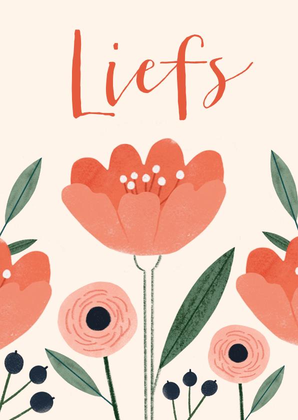 Zomaar kaarten - Zomaar kaart liefs met rood roze bloemen
