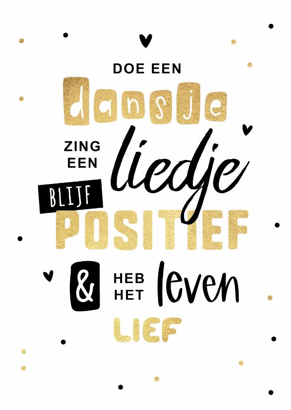 Zomaar kaarten - Zomaar kaart vrolijk positief goud dansje confetti