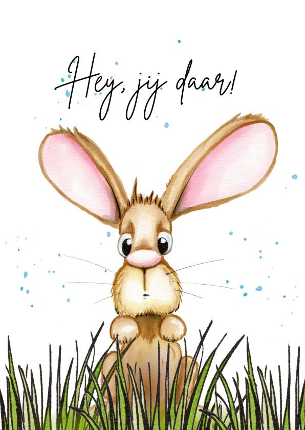 Zomaar kaarten - Zomaar kaarten konijn kijkt over het gras