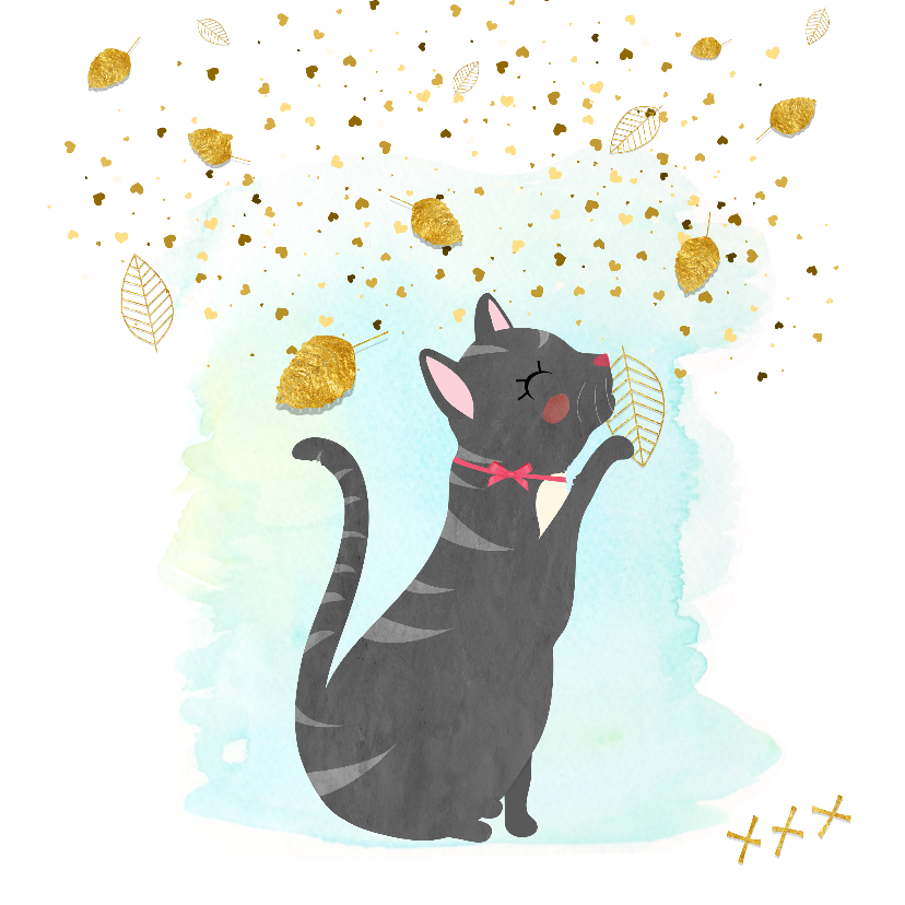 Zomaar kaarten -  Zomaar kaartje  Kat met vallende bladeren - SD