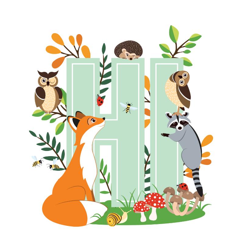 Zomaar kaarten - Zomaar kaartje met stoere dieren uit het bos die hi zeggen