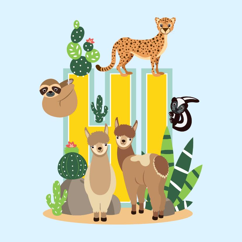 Zomaar kaarten - Zomaar kaartje met vrolijke dieren uit de woestijn