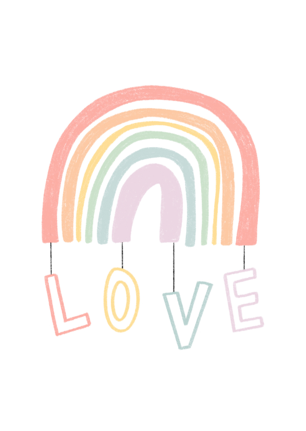 Zomaar kaarten - Zomaar kaartje regenboog met love in pastel