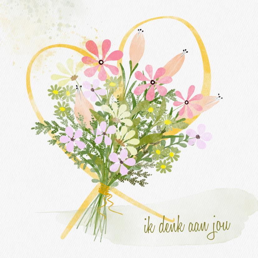 Zomaar kaarten - Zomaarkaart boeket bloemen geel hart