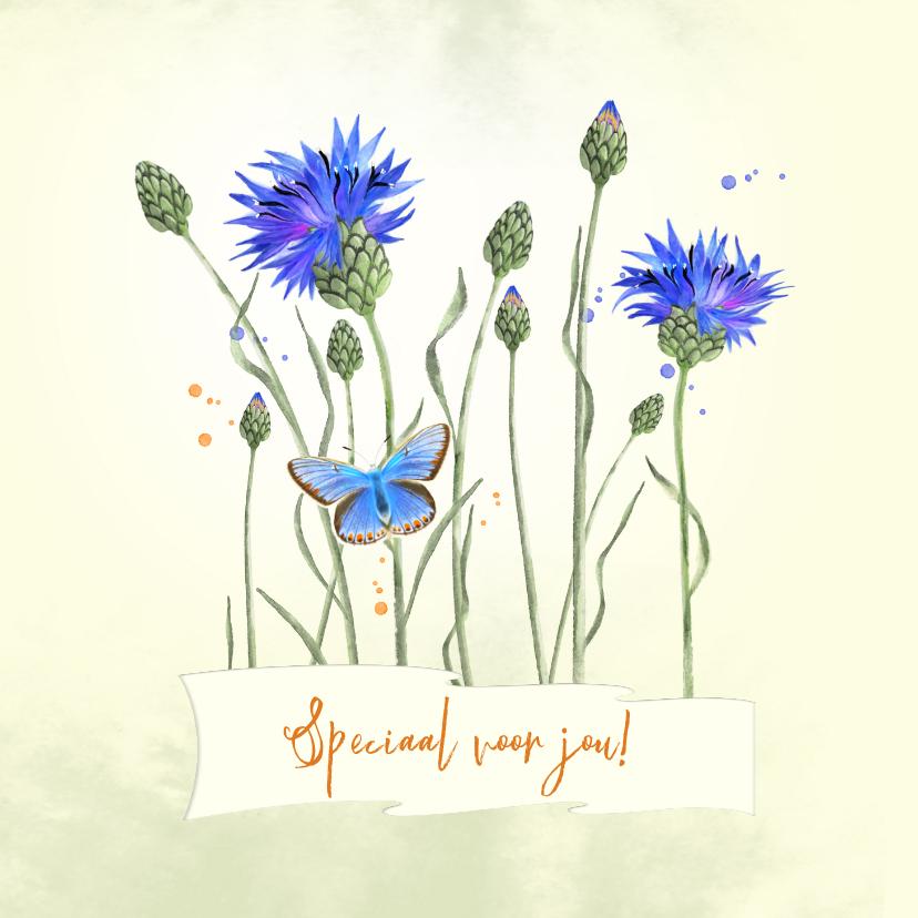 Zomaar kaarten - Zomaarkaart korenbmoemen met vlinder