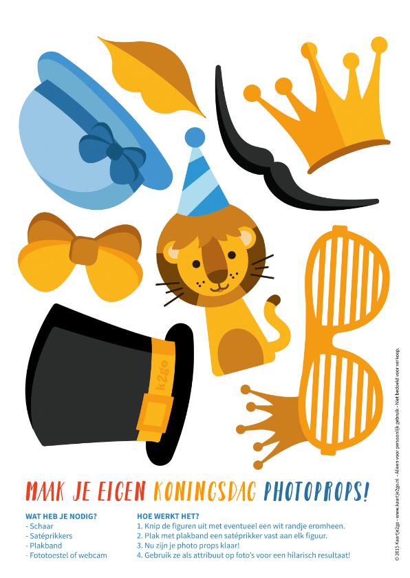 Zomaar kaarten - Zomaarkaart maak je eigen Koningsdag photo props feestje