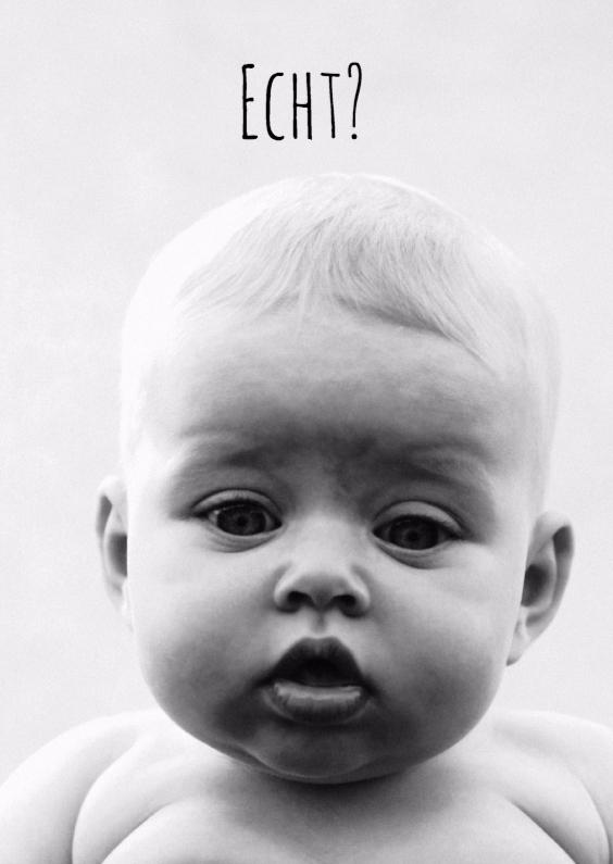 Zomaar kaarten - Zomaarkaart met een foto van een verbaasde baby