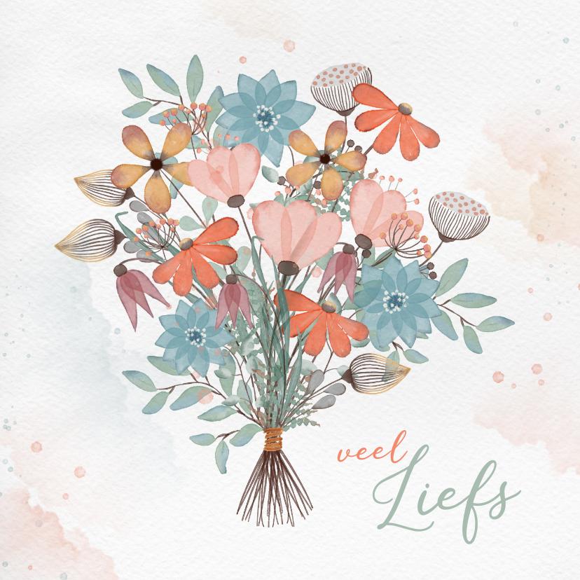 Zomaar kaarten - Zomaarkaart met kleurig boeket bloemen
