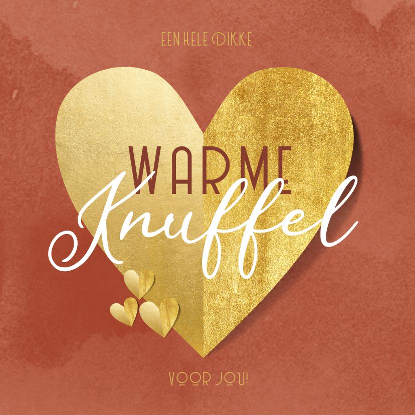 Zomaar kaarten - Zomaarkaart warme knuffel gouden hart rode waterverf