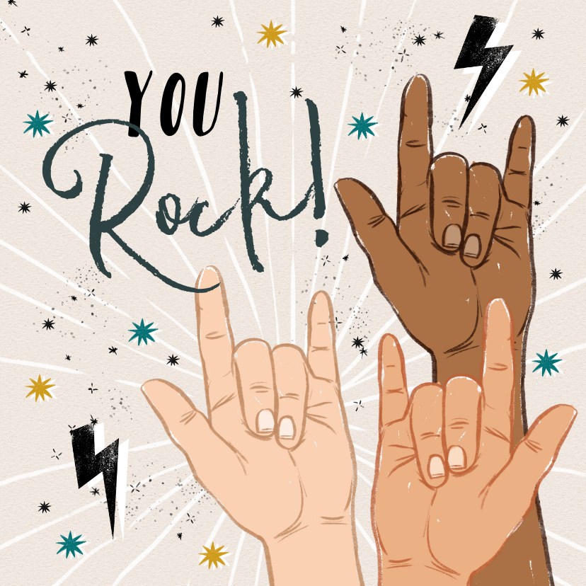 Zomaar kaarten - Zomaarkaart 'You Rock' met handgebaren, sterren en bliksem